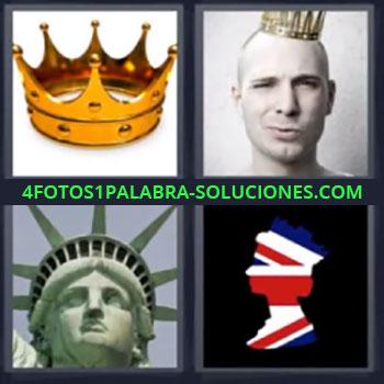 4 Fotos 1 Palabra - ocho-letras estatua libertad corona, Silueta con bandera Inglaterra
