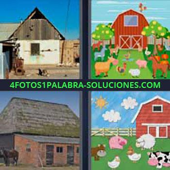 4 Fotos 1 Palabra - ocho-letras establo. Cabaña. Casa madera. Dibujo granja animales. Caballerizas. Vaca, cerdo, oveja, gallina.