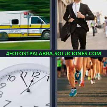 4 Fotos 1 Palabra - siete-letras ambulancia. Señor con traje. Reloj. Deporte maratón.