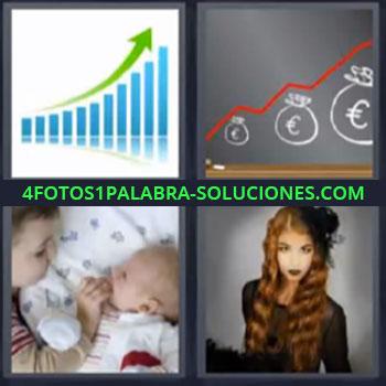 4 Fotos 1 Palabra - seis-letras grafica, Grafico ascendente euro, Niño con bebe, Mujer pelo largo