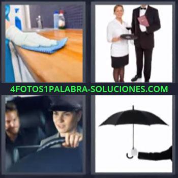 4 Fotos 1 Palabra - seis-letras chofer, Limpiando encimera, Mujer y hombre del servicio, Paraguas