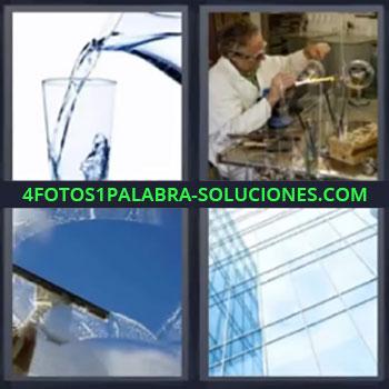 4 Fotos 1 Palabra - cinco-letras jarra de agua, Jarra echando agua en vaso, Artesano fabricando vidrio, Limpiando ventanas, Edificio de cristal.