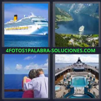 4 Fotos 1 Palabra - seis-letras barco pareja, Trasatlantico, Barco por fiordos, Crucero.