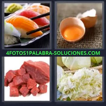 4 Fotos 1 Palabra - cuatro-letras canapes. Carne. Huevos. Comida. Repollo. Sushi.