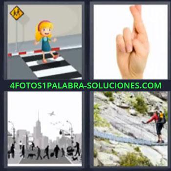 4 Fotos 1 Palabra - cinco-letras dedos cruzados. Dibujo niña paso de peatones. Mano con dedos cruzados. Puente colgante.