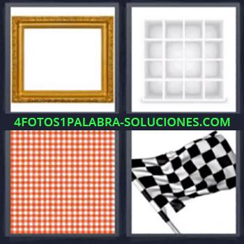 4 Fotos 1 Palabra - cuatro-letras marco, Estanteria, Mantel rojo y blanco, Bandera o banderín que usan en las carreras