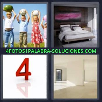 4 Fotos 1 Palabra - niños y numero 4, dormitorio o alcoba, Espacio diafano sin muebles