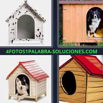 4 Fotos 1 Palabra - seis-letras caseta perro. Perros en su casita. Casita de madera con techo rojo.