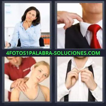 4 Fotos 1 Palabra - mujer dolor hombre corbata y chaleco, Dando masaje, Hombre abrochandose botones camisa