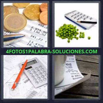 4 Fotos 1 Palabra - monedas euro chicharos guisantes o arveja, Calculadora y boligrafo o pluma, Facturas o tickets