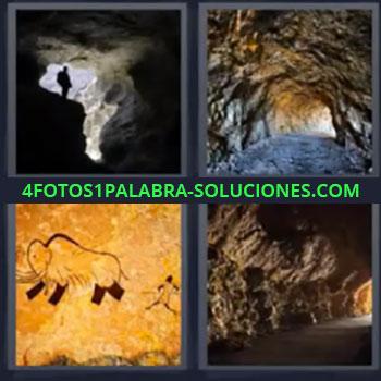 4 Fotos 1 Palabra - seis-letras caverna, Tunel, Gruta, Montaña
