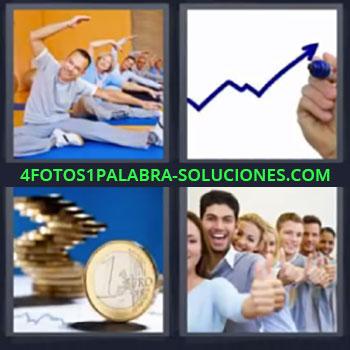 4 Fotos 1 Palabra - ocho-letras ejercicio, Grafica, Monedas euro, Gente con pulgar arriba