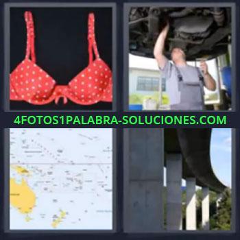 4 Fotos 1 Palabra - seis-letras brasier mecanico, Sujetador rojo, Brasier rojo, Mecanico, Mapa, Puente carretera