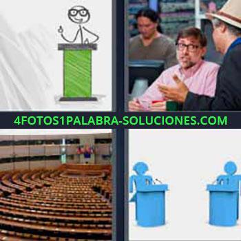 4 Fotos 1 Palabra - cinco-letras atril dibujo orador. Señores uno con sombrero. Asientos auditorio. Dibujo dos atriles azules.