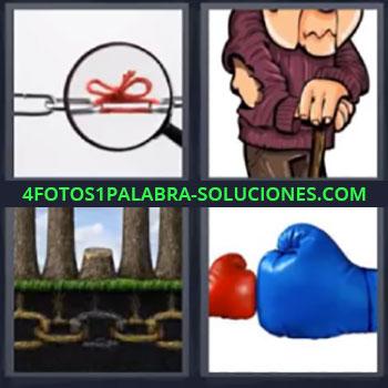 4 Fotos 1 Palabra - cuatro-letras guantes, Cadena con lazo, Dibujo vagabundo, Guantes azul y rojo