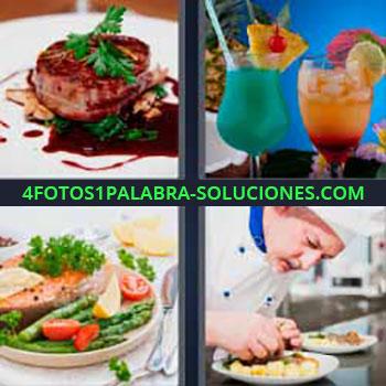 4 Fotos 1 Palabra - ocho-letras cocteles copas. Postre. Carne. Plato de verduras asadas. Chef o cocinero.
