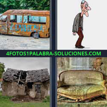 4 Fotos 1 Palabra - cinco-letras camioneta vieja. Dibujo señor mayor. Casita o cabaña destrozada. Sofá antiguo roto y viejo.