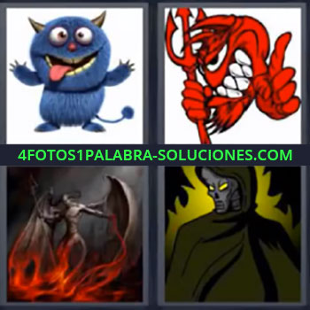 4 Fotos 1 Palabra - ocho-letras diablillo, Dibujo de especie de gato azul, Dibujo rojo con tridente, Ser demoniaco, Dibujo de miedo.