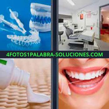 4 Fotos 1 Palabra - cinco-letras dentadura postiza. Clínica dentista u odontólogo. Bote de crema o pomada. Limpiándose con hilo dental.