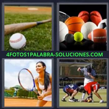 4 Fotos 1 Palabra - seis-letras bate de beisbol, Bate y pelota beisbol, Pelotas diferentes, Mujer jugando al tenis, Jugando rugby.