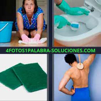 4 Fotos 1 Palabra - mujer limpiando piso o suelo. Limpiando taza del water. Estropajos. Duchándose y rascándose espalda.