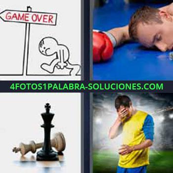 4 Fotos 1 Palabra - cuatro-letras game over. Boxeador en el suelo. Rey blanco y negro de ajedrez. Jugador deportista mano en la cara.