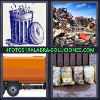 4 Fotos 1 Palabra - seis-letras basura basurero, Estercolero, Camión cisterna, Bolsas de basura.