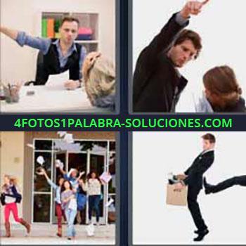 4 Fotos 1 Palabra - ocho-letras discusión oficina. Hombre levantando brazo a mujer. Personas saliendo de edificio y tirando papeles. Hombre con caja en la mano. Despido trabajo.