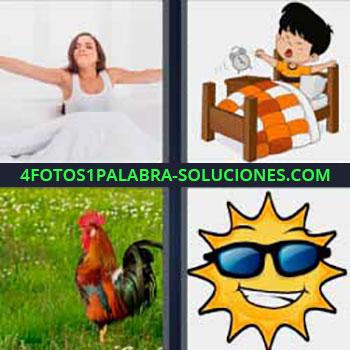 4 Fotos 1 Palabra - seis-letras gallo sol. Mujer en la cama. Dibujo niño despertando. Gallo. Dibujo sol con gafas o lentes.