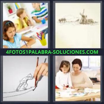 4 Fotos 1 Palabra - niña pintando, Niña con lapices de colores, Cuadro con molino