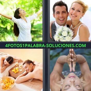 4 Fotos 1 Palabra - mujer brazos abiertos y camisa blanca. Recién casados o novios sonriendo. Pareja disfrutando en un spa o balneario. Mujer ojos cerrados y manos juntas.