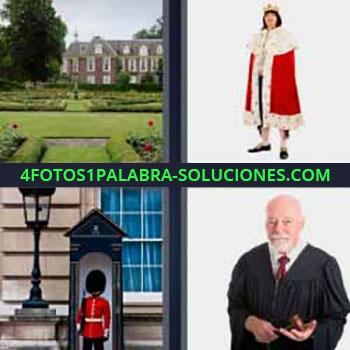 4 Fotos 1 Palabra - siete-letras caserón jardines. Señor capa ropas antiguas. Militar sombrero alto. Juez.