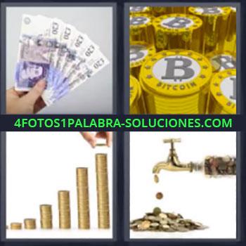 4 Fotos 1 Palabra - cuatro-letras billetes, Fichas casino, Monedas amontonadas, Grifo echando monedas