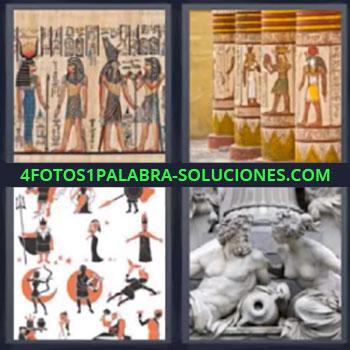 4 Fotos 1 Palabra - ocho-letras egipcios, Dibujos antiguos, Estatuas
