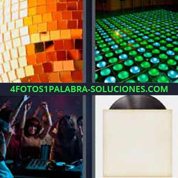 4 Fotos 1 Palabra - mujeres bailando en una fiesta. Bola cristal. Luces de colores. Disco antiguo de vinilo.
