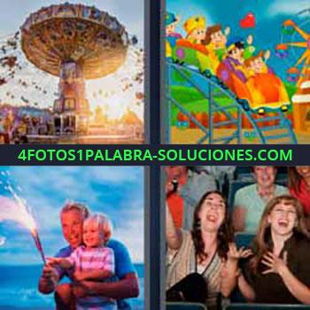 4 Fotos 1 Palabra - noria o tiovivo. Caricatura montaña rusa parque de atracciones. Papa y niño con especie de vengala. Amigas en el teatro o cine.