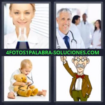 4 Fotos 1 Palabra - medicos, Bebe jugando con estetoscopio