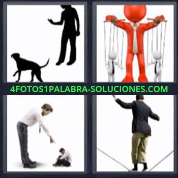 4 Fotos 1 Palabra - mujer y perro marionetas, Hombre grande discutiendo hombre pequeño, Haciendo equilibrio.