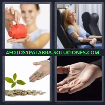 4 Fotos 1 Palabra - siete-letras alcancia o hucha, Chica en hospital, Monedas y hierba, Mano