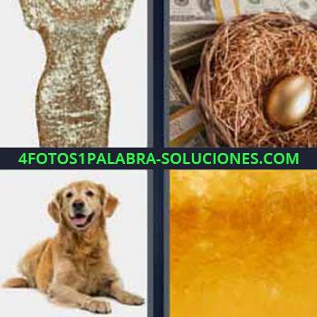 4 Fotos 1 Palabra - siete-letras huevo de oro. Vestido brillante de lentejuelas. Perro. Oro fundido.