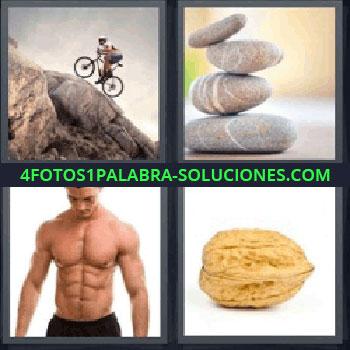 4 Fotos 1 Palabra - piedras nuez, Bicicleta subiendo montaña, Piedras, Chico musculoso.