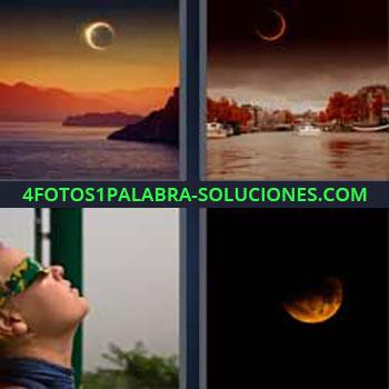 4 Fotos 1 Palabra - siete-letras luna al anochecer. Atardecer. Sol. Mirando al sol con gafas especiales.