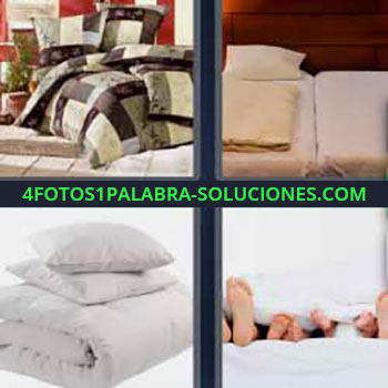 4 Fotos 1 Palabra - siete-letras almohadas. Almohadones. Cojines. Ropa de cama. Mantas. Pies de la familia en la cama.
