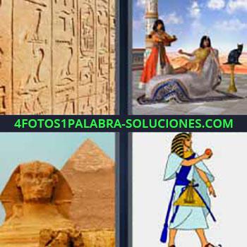 4 Fotos 1 Palabra - ocho-letras faraón. Grabados o tallados en un muro piedra. Dibujo personas y gato egipcio. Pirámides.