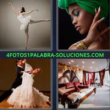 4 Fotos 1 Palabra - cuatro-letras bailarina de ballet. Mujer sombrero verde. Pareja de baile o novios bailando. Habitación de lujo.