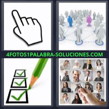 4 Fotos 1 Palabra - ocho-letras dibujo mano, Marcas verdes de visto bueno, Pantalla con fotografias