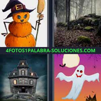 4 Fotos 1 Palabra - siete-letras bruja fantasma. Dibujo bruja de calabazas. Bosque con niebla. Casa antigua que da miedo. Dibujo fantasma.