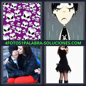 4 Fotos 1 Palabra - seis-letras craneo, Calaveras, Dibujo de chico bajo la lluvia con maquillaje negro, Pareja triste, Chica de negro.