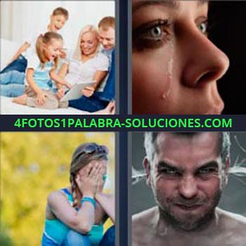4 Fotos 1 Palabra - mujer llorando. Padres e hijos con tableta riendo. Chica manos en la cara. Hombre humo por las orejas