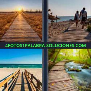 4 Fotos 1 Palabra - siete-letras atardecer o puesta de sol. Playa de arena. Camino de maderas al mar. Tablas de madera en bosque.